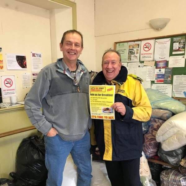 Steve Leonard-Williams, Director of Composite Integration, and Alastair Carnegie, Managing Director of Total Energy Solutions with vital supplies collected for the homeless